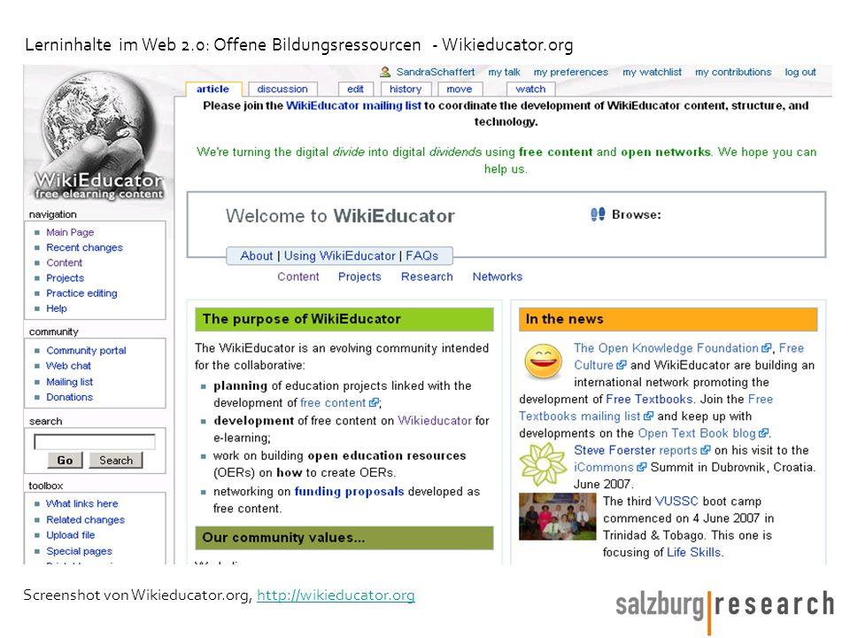 Screenshot von Wikieducator.org, http://wikieducator.orghttp://wikieducator.org Lerninhalte im Web 2.0: Offene Bildungsressourcen - Wikieducator.org