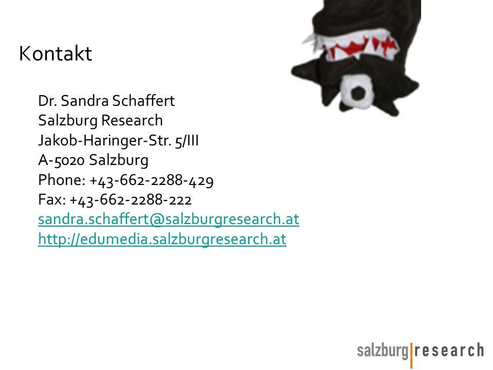 Kontakt Dr. Sandra Schaffert Salzburg Research Jakob-Haringer-Str. 5/III A-5020 Salzburg Phone: +43-662-2288-429 Fax: +43-662-2288-222 sandra.schaffer