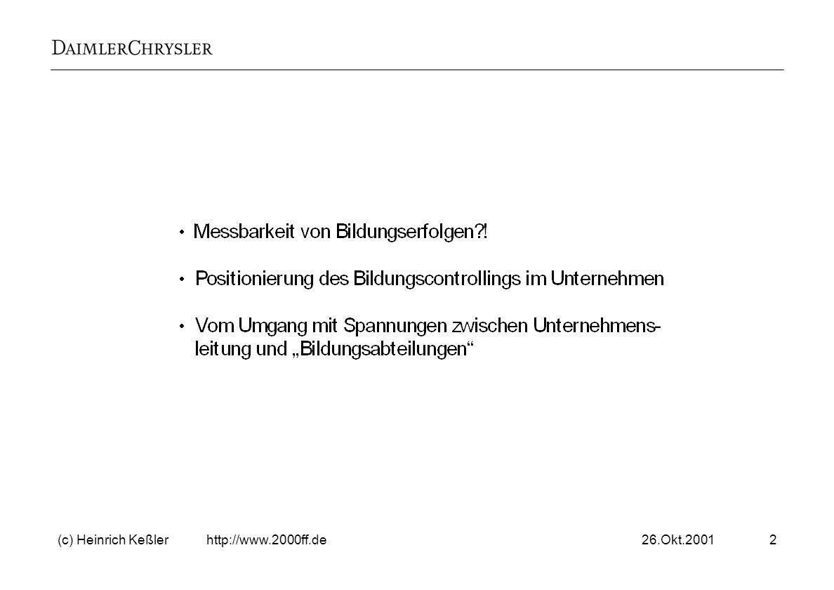 26.Okt.2001(c) Heinrich Keßler http://www.2000ff.de23 Ansatzpunkte für das Bildungscontrolling Welche Anzeichen gibt es aus der Vergangenheit und in der Gegenwart.