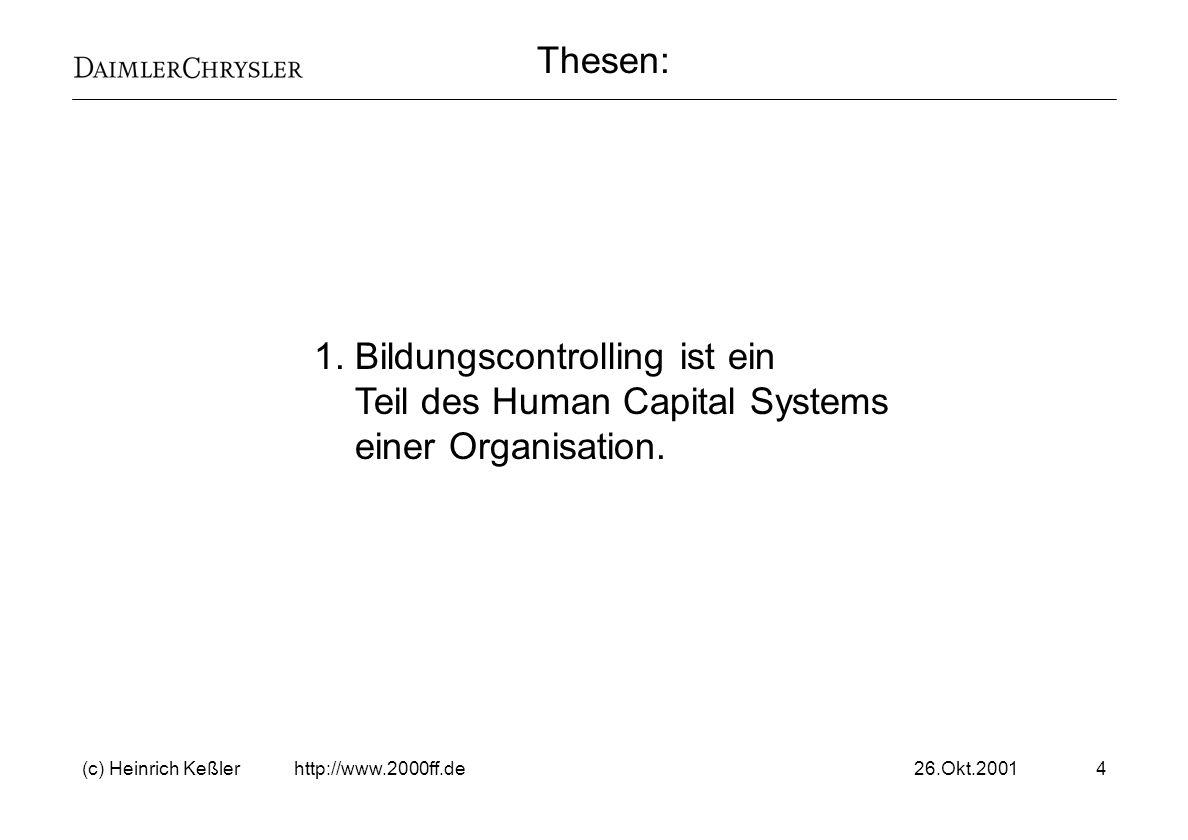 26.Okt.2001(c) Heinrich Keßler http://www.2000ff.de25 Schwerpunkte für das Bildungscontrolling Quantitatives Bildungscontrolling Controlling der Mengengerüste.