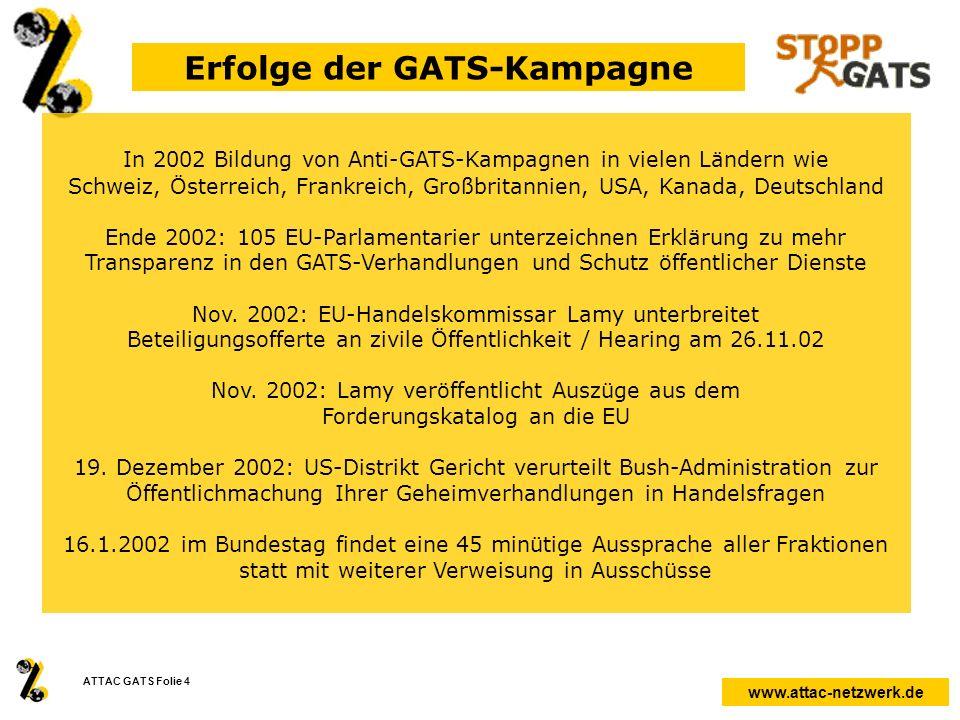 www.attac-netzwerk.de ATTAC GATS Folie 4 Erfolge der GATS-Kampagne In 2002 Bildung von Anti-GATS-Kampagnen in vielen Ländern wie Schweiz, Österreich,