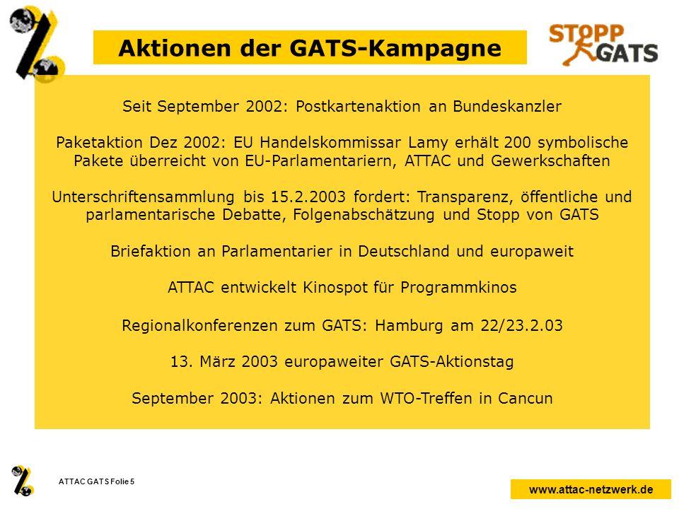 www.attac-netzwerk.de ATTAC GATS Folie 5 Aktionen der GATS-Kampagne Seit September 2002: Postkartenaktion an Bundeskanzler Paketaktion Dez 2002: EU Ha