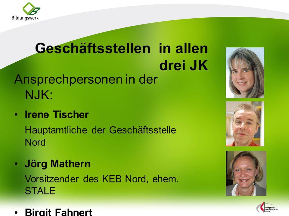 Geschäftsstellen in allen drei JK Ansprechpersonen in der NJK: Irene Tischer Hauptamtliche der Geschäftsstelle Nord Jörg Mathern Vorsitzender des KEB