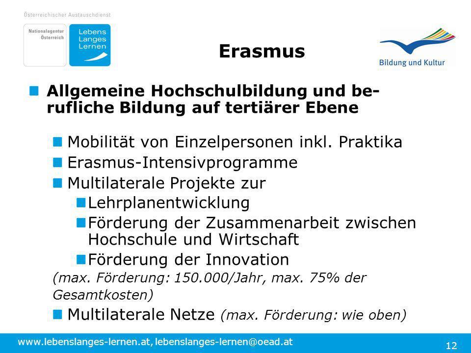 www.lebenslanges-lernen.at, lebenslanges-lernen@oead.at 12 Erasmus Allgemeine Hochschulbildung und be- rufliche Bildung auf tertiärer Ebene Mobilität