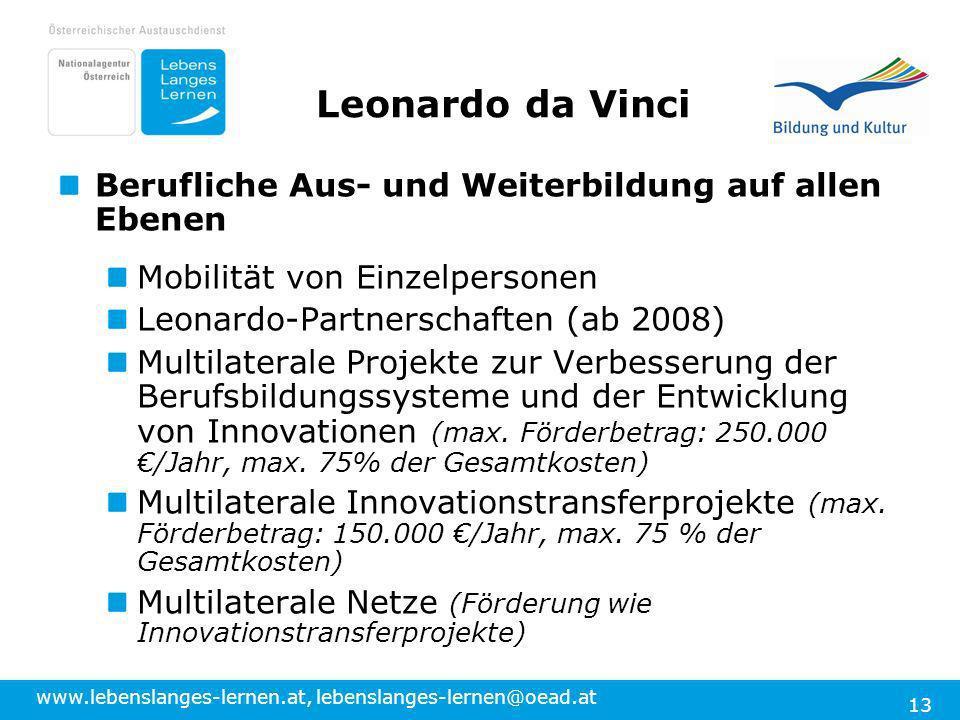 www.lebenslanges-lernen.at, lebenslanges-lernen@oead.at 13 Leonardo da Vinci Berufliche Aus- und Weiterbildung auf allen Ebenen Mobilität von Einzelpe