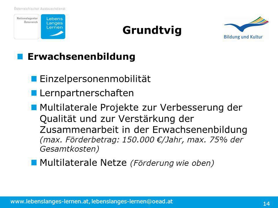 www.lebenslanges-lernen.at, lebenslanges-lernen@oead.at 14 Grundtvig Erwachsenenbildung Einzelpersonenmobilität Lernpartnerschaften Multilaterale Proj
