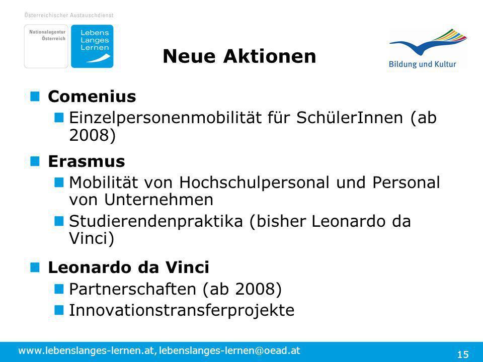 www.lebenslanges-lernen.at, lebenslanges-lernen@oead.at 15 Neue Aktionen Comenius Einzelpersonenmobilität für SchülerInnen (ab 2008) Erasmus Mobilität