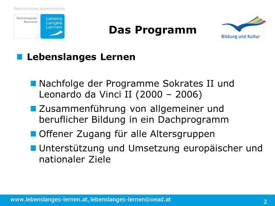 www.lebenslanges-lernen.at, lebenslanges-lernen@oead.at 2 Das Programm Lebenslanges Lernen Nachfolge der Programme Sokrates II und Leonardo da Vinci I