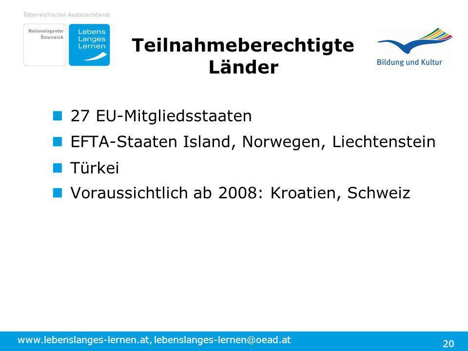 www.lebenslanges-lernen.at, lebenslanges-lernen@oead.at 20 27 EU-Mitgliedsstaaten EFTA-Staaten Island, Norwegen, Liechtenstein Türkei Voraussichtlich