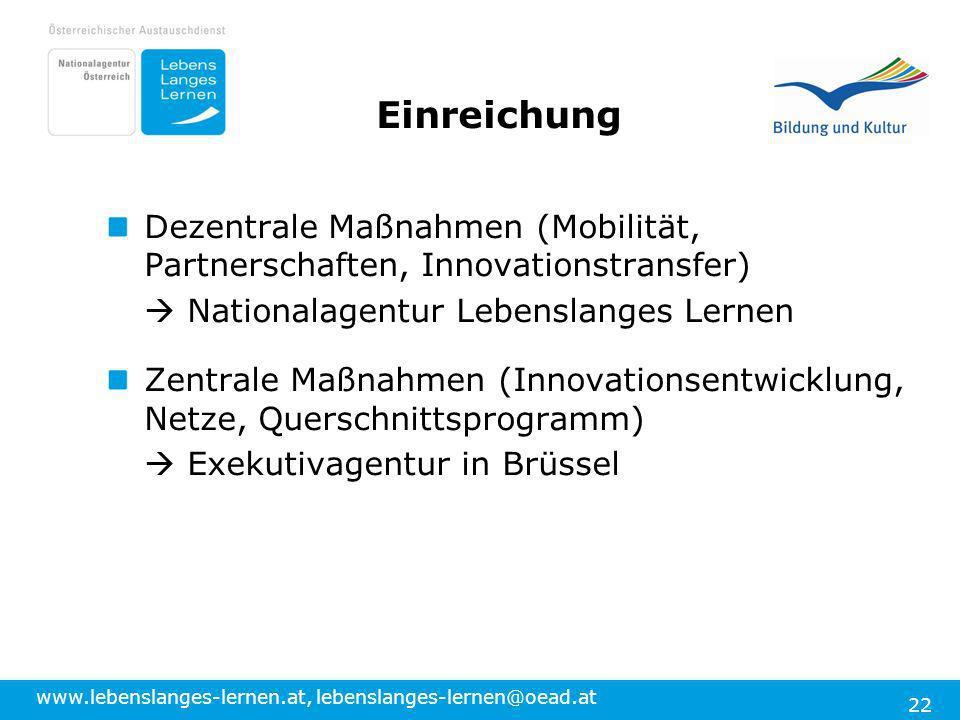 www.lebenslanges-lernen.at, lebenslanges-lernen@oead.at 22 Dezentrale Maßnahmen (Mobilität, Partnerschaften, Innovationstransfer) Nationalagentur Lebe
