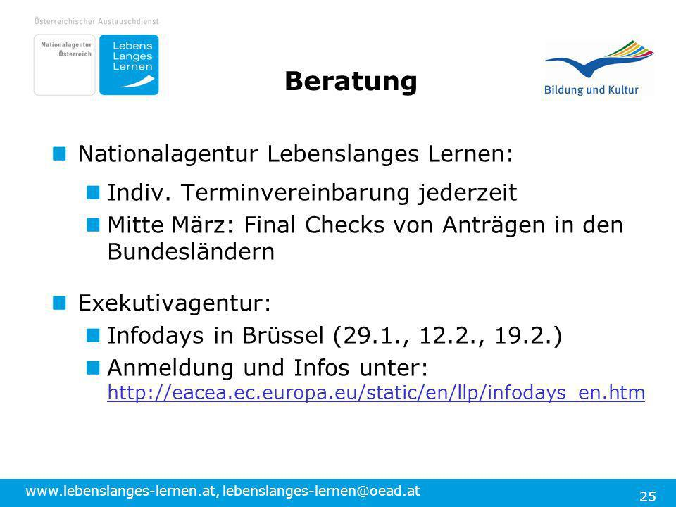 www.lebenslanges-lernen.at, lebenslanges-lernen@oead.at 25 Nationalagentur Lebenslanges Lernen: Indiv.