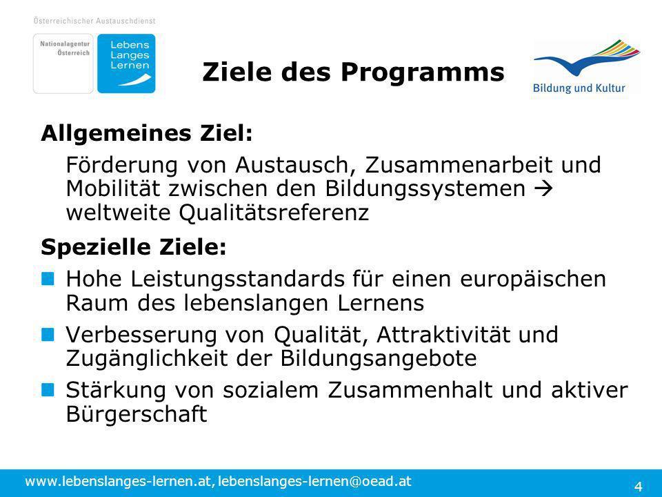 www.lebenslanges-lernen.at, lebenslanges-lernen@oead.at 4 Ziele des Programms Allgemeines Ziel: Förderung von Austausch, Zusammenarbeit und Mobilität