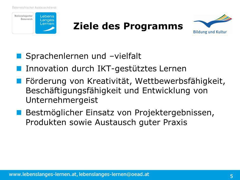 www.lebenslanges-lernen.at, lebenslanges-lernen@oead.at 5 Ziele des Programms Sprachenlernen und –vielfalt Innovation durch IKT-gestütztes Lernen Förd