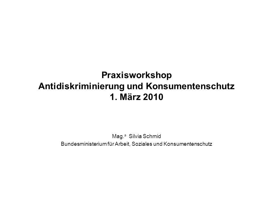 Praxisworkshop Antidiskriminierung und Konsumentenschutz 1.