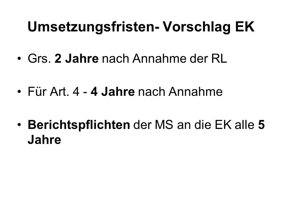 Umsetzungsfristen- Vorschlag EK Grs. 2 Jahre nach Annahme der RL Für Art.
