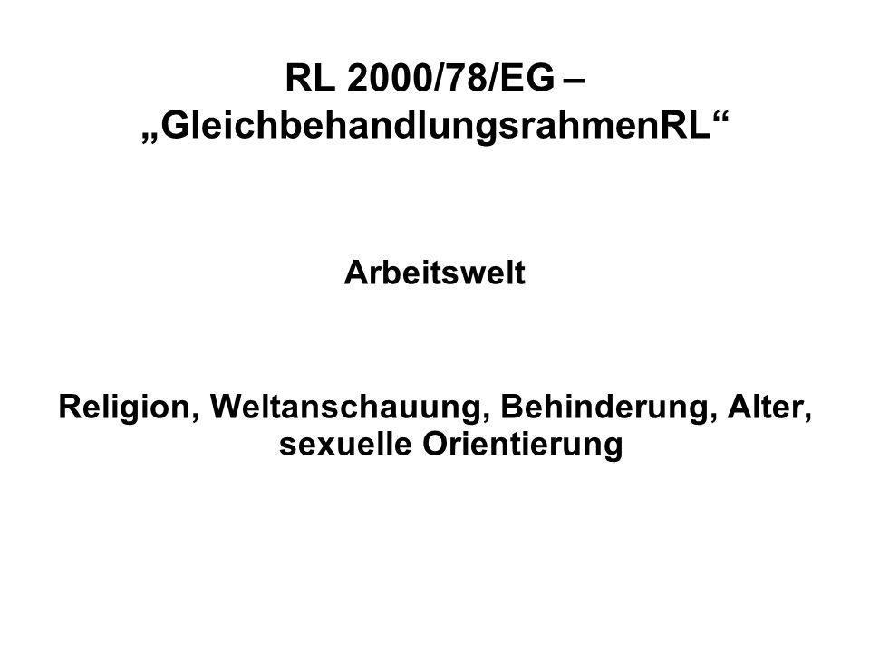 RL 2000/43/EG AntirassismusRL Ethnische Herkunft -in der Arbeitswelt und beim -Sozialschutz (soziale Sicherheit und Gesundheitsdienste) -Sozialen Vergünstigungen -Bildung -Zugang zu und Versorgung mit Gütern und Dienstleistungen, die der Öffentlichkeit zur Verfügung stehen, einschließlich von Wohnraum