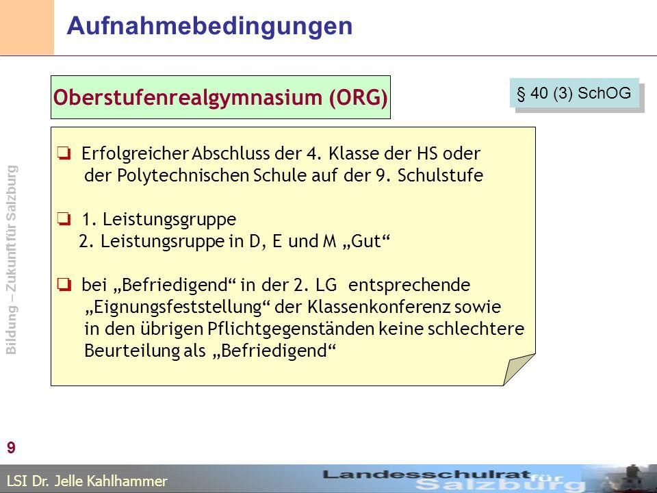 LSI Dr. Jelle Kahlhammer Bildung – Zukunft für Salzburg Aufnahmebedingungen 9 Oberstufenrealgymnasium (ORG) Erfolgreicher Abschluss der 4. Klasse der