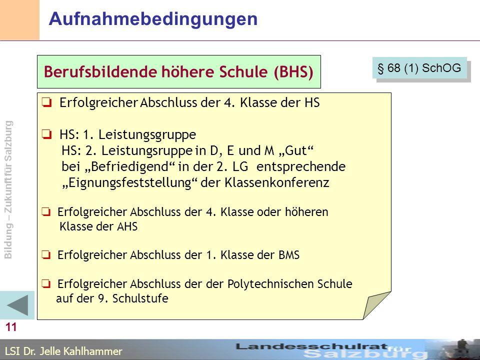 LSI Dr. Jelle Kahlhammer Bildung – Zukunft für Salzburg Aufnahmebedingungen 11 Berufsbildende höhere Schule (BHS) Erfolgreicher Abschluss der 4. Klass
