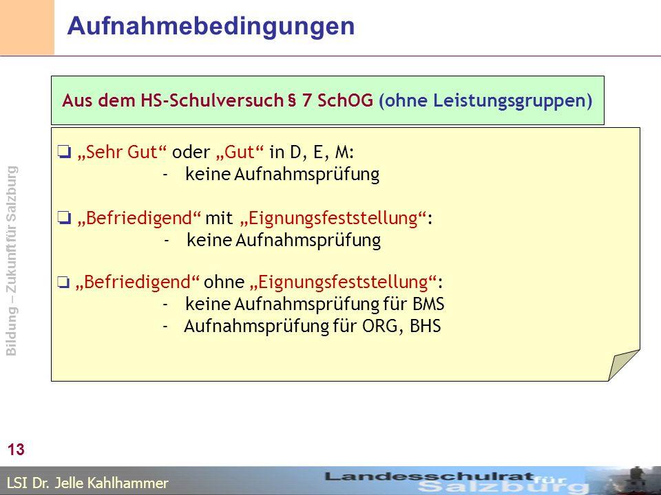 LSI Dr. Jelle Kahlhammer Bildung – Zukunft für Salzburg Aufnahmebedingungen 13 Aus dem HS-Schulversuch § 7 SchOG (ohne Leistungsgruppen) Sehr Gut oder