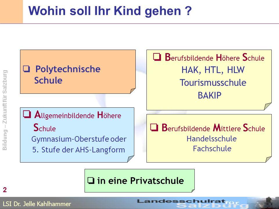 LSI Dr. Jelle Kahlhammer Bildung – Zukunft für Salzburg Wohin soll Ihr Kind gehen ? A llgemeinbildende H öhere S chule Gymnasium-Oberstufe oder 5. Stu