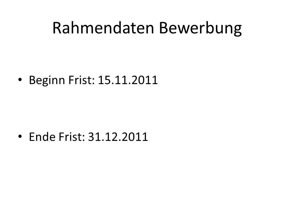 Rahmendaten Bewerbung Beginn Frist: 15.11.2011 Ende Frist: 31.12.2011