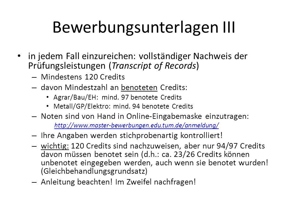 Bewerbungsunterlagen IV tabellarischer Lebenslauf schriftliche Begründung für die Wahl des Studiengangs (Motivationsschreiben) (rechtl.