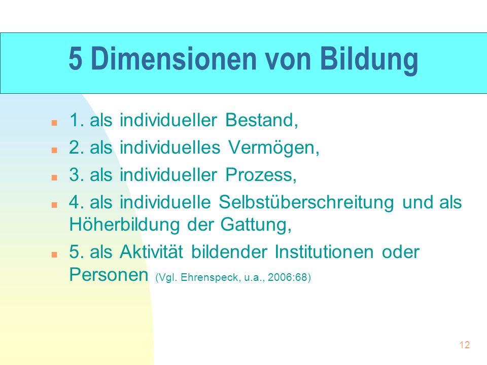 5 Dimensionen von Bildung n 1. als individueller Bestand, n 2. als individuelles Vermögen, n 3. als individueller Prozess, n 4. als individuelle Selbs