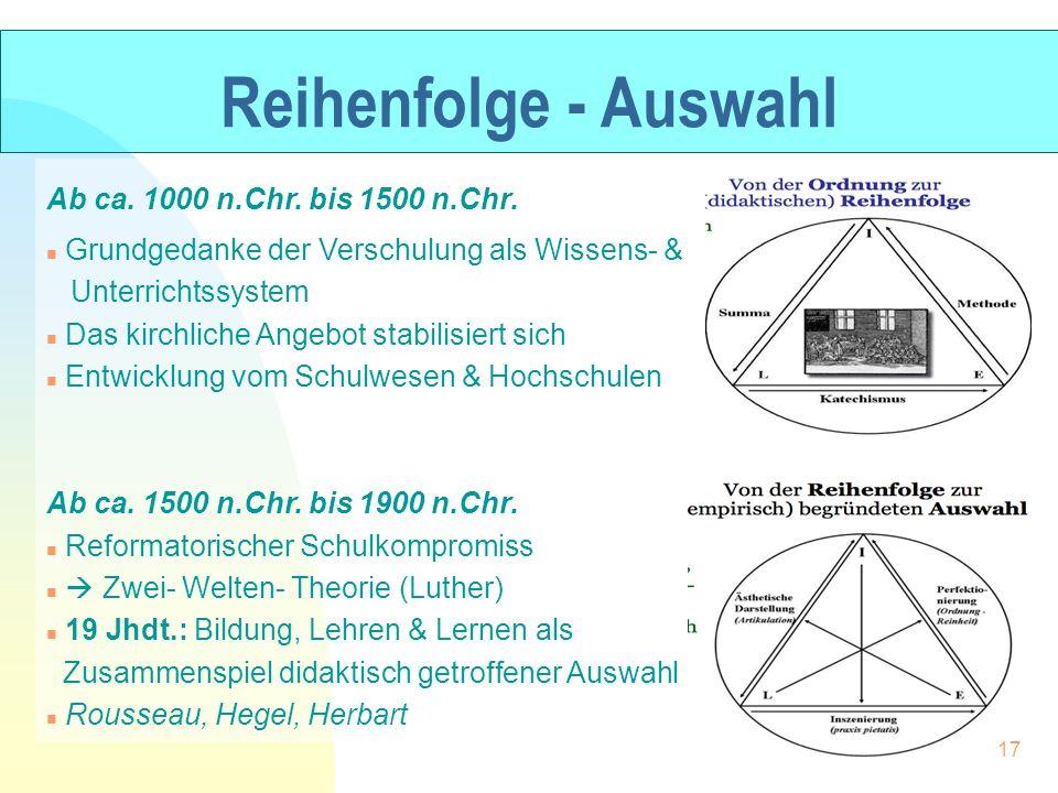 Reihenfolge - Auswahl Ab ca. 1000 n.Chr. bis 1500 n.Chr. n Grundgedanke der Verschulung als Wissens- & Unterrichtssystem n Das kirchliche Angebot stab