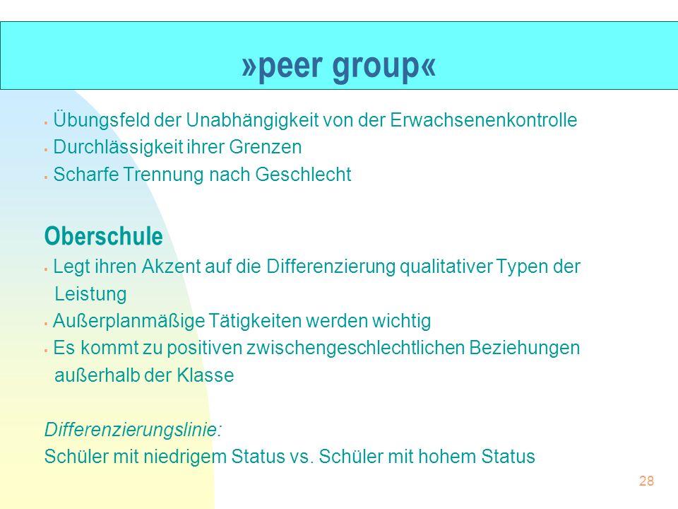 »peer group« Übungsfeld der Unabhängigkeit von der Erwachsenenkontrolle Durchlässigkeit ihrer Grenzen Scharfe Trennung nach Geschlecht Oberschule Legt