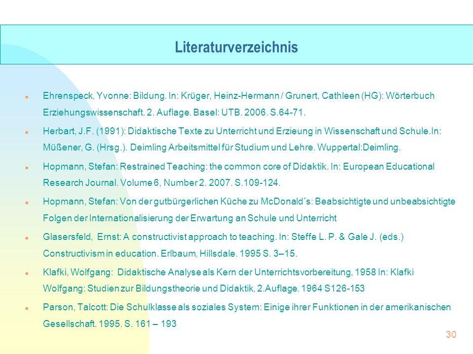 n Ehrenspeck, Yvonne: Bildung. In: Krüger, Heinz-Hermann / Grunert, Cathleen (HG): Wörterbuch Erziehungswissenschaft. 2. Auflage. Basel: UTB. 2006. S.