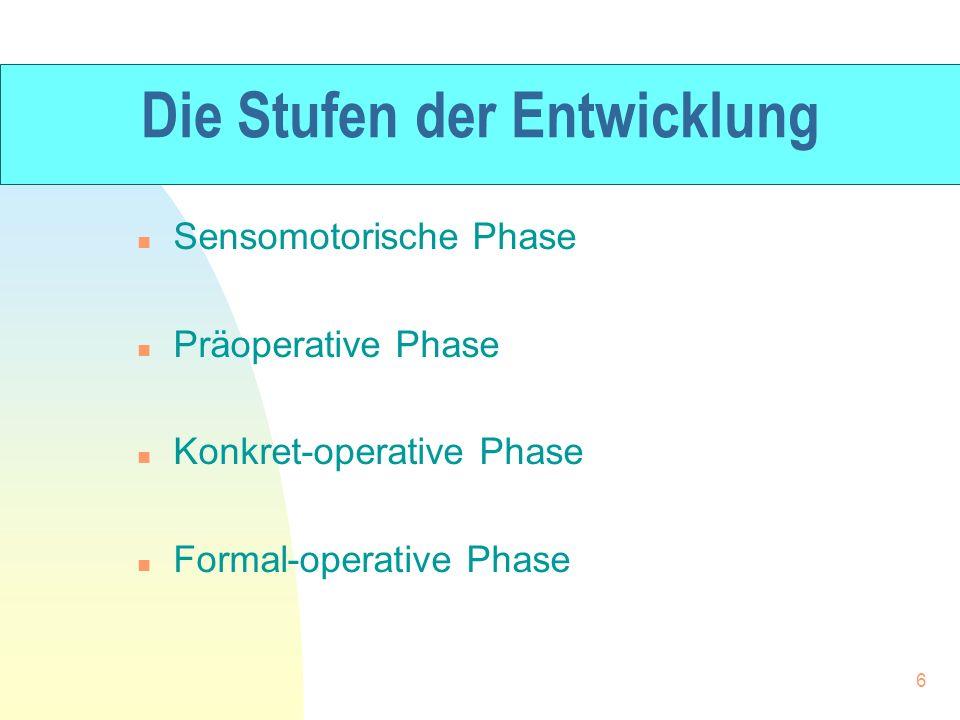 Die Stufen der Entwicklung n Sensomotorische Phase n Präoperative Phase n Konkret-operative Phase n Formal-operative Phase 6