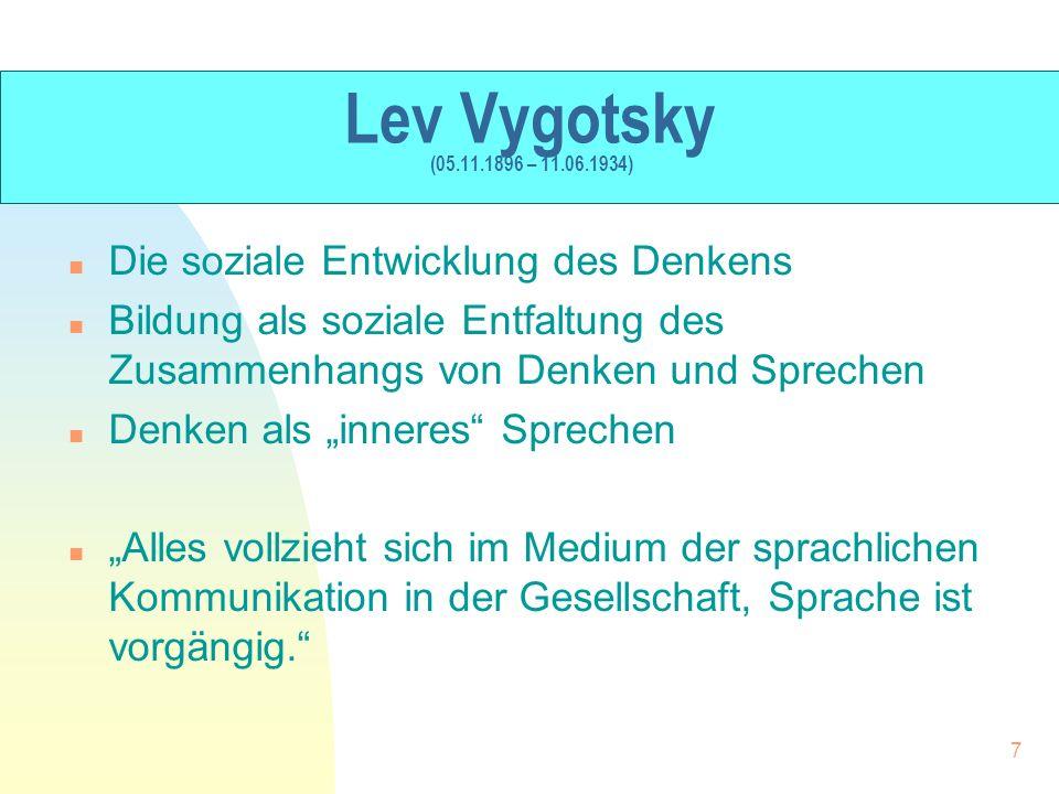 Lev Vygotsky (05.11.1896 – 11.06.1934) n Die soziale Entwicklung des Denkens n Bildung als soziale Entfaltung des Zusammenhangs von Denken und Spreche