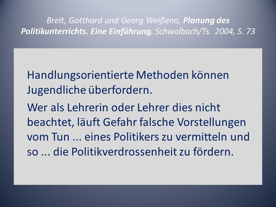 Breit, Gotthard und Georg Weißeno, Planung des Politikunterrichts. Eine Einführung, Schwalbach/Ts. 2004, S. 73 Handlungsorientierte Methoden können Ju