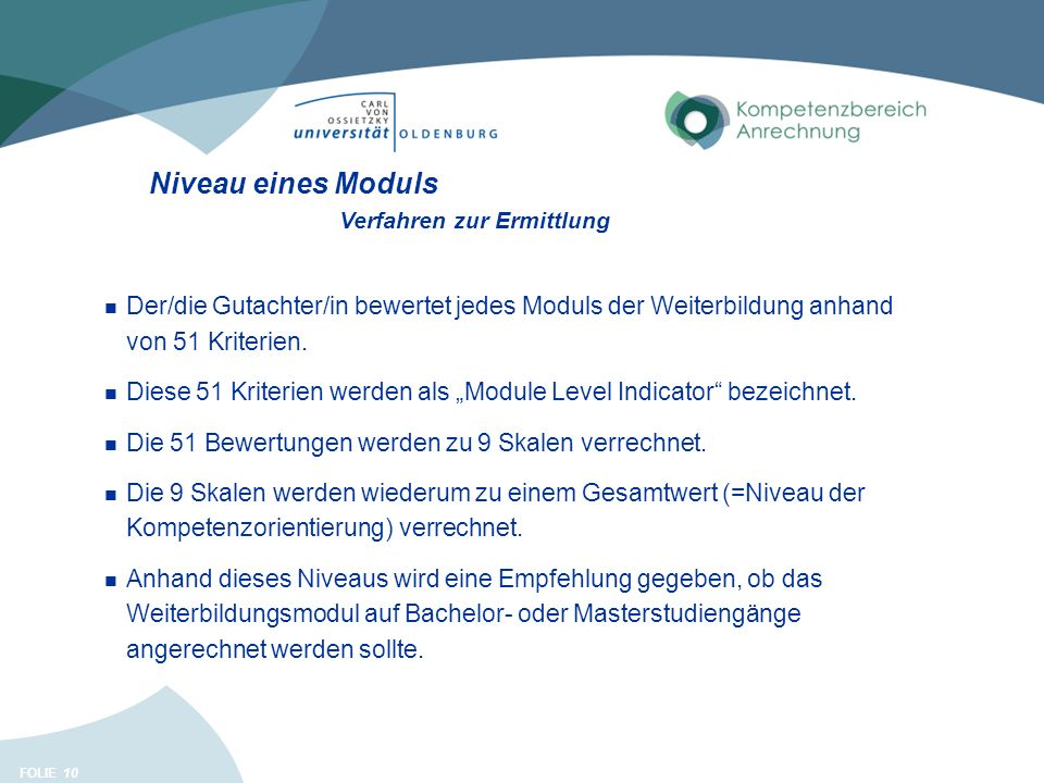 FOLIE 10 Niveau eines Moduls Der/die Gutachter/in bewertet jedes Moduls der Weiterbildung anhand von 51 Kriterien.