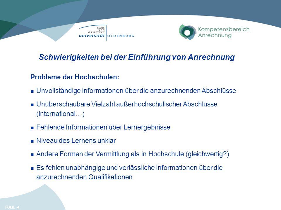 FOLIE Schwierigkeiten bei der Einführung von Anrechnung 4 Probleme der Hochschulen: Unvollständige Informationen über die anzurechnenden Abschlüsse Un