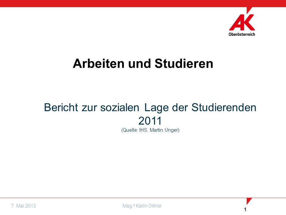 1 7. Mai 2013Mag. a Karin Ortner Arbeiten und Studieren Bericht zur sozialen Lage der Studierenden 2011 (Quelle: IHS, Martin Unger)