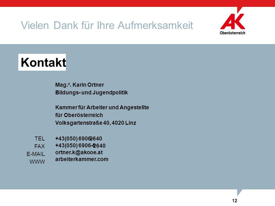 12 Kammer für Arbeiter und Angestellte für Oberösterreich Volksgartenstraße 40, 4020 Linz arbeiterkammer.com Kontakt +43(050) 6906-TEL FAX E-MAIL WWW