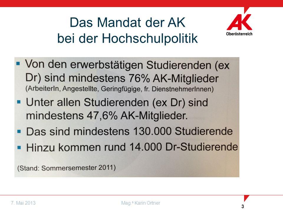 3 7. Mai 2013Mag. a Karin Ortner Das Mandat der AK bei der Hochschulpolitik