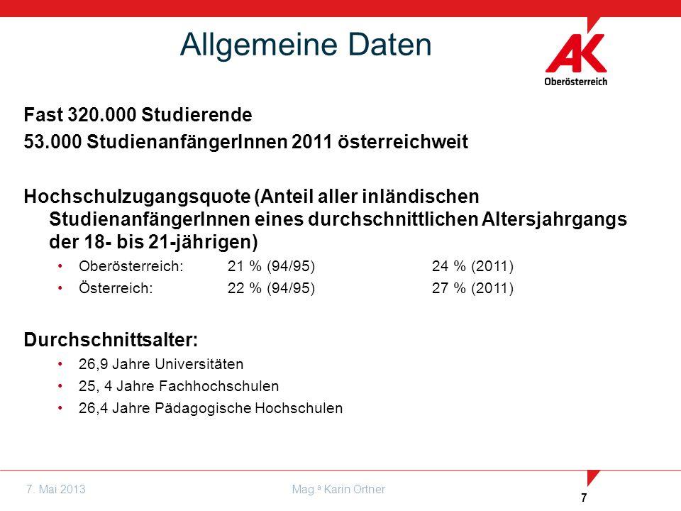 7 7. Mai 2013Mag. a Karin Ortner Fast 320.000 Studierende 53.000 StudienanfängerInnen 2011 österreichweit Hochschulzugangsquote (Anteil aller inländis