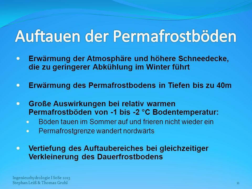 Ingenieurhydrologie I SoSe 2013 Stephan Leiß & Thomas Gruhl11 Erwärmung der Atmosphäre und höhere Schneedecke, die zu geringerer Abkühlung im Winter f
