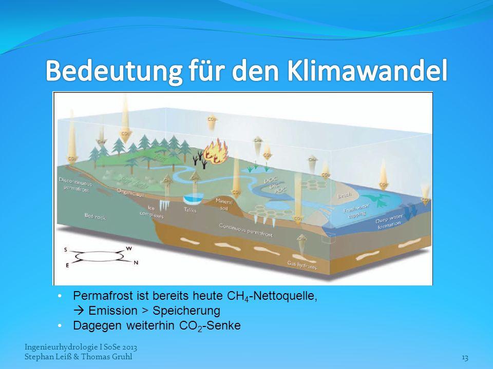 Ingenieurhydrologie I SoSe 2013 Stephan Leiß & Thomas Gruhl13 Permafrost ist bereits heute CH 4 -Nettoquelle, Emission > Speicherung Dagegen weiterhin