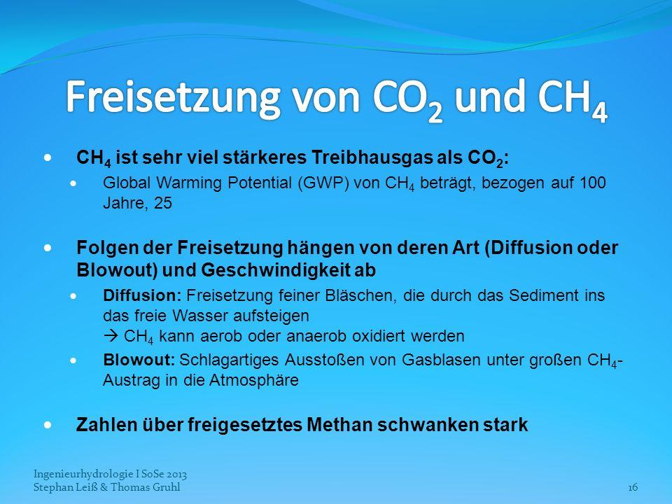 Ingenieurhydrologie I SoSe 2013 Stephan Leiß & Thomas Gruhl16 CH 4 ist sehr viel stärkeres Treibhausgas als CO 2 : Global Warming Potential (GWP) von