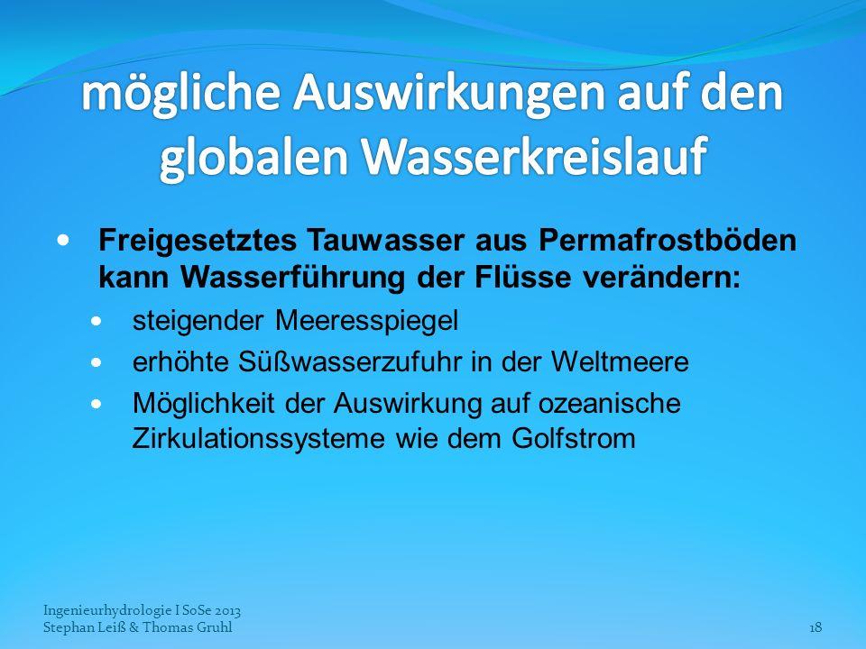 Ingenieurhydrologie I SoSe 2013 Stephan Leiß & Thomas Gruhl18 Freigesetztes Tauwasser aus Permafrostböden kann Wasserführung der Flüsse verändern: ste