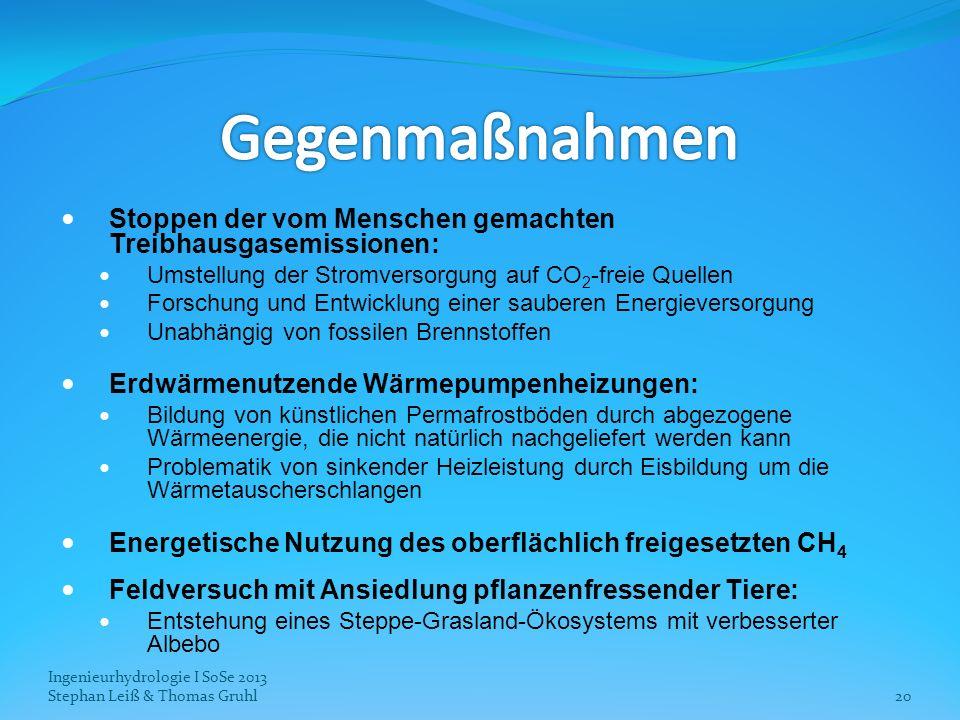 Ingenieurhydrologie I SoSe 2013 Stephan Leiß & Thomas Gruhl20 Stoppen der vom Menschen gemachten Treibhausgasemissionen: Umstellung der Stromversorgun