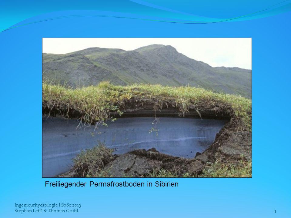 aktuelle Verteilung von Permafrost auf der Nordhalbkugel: dunkelblau: kontinuierlicher Permafrost (90 – 100 % gefroren) blau: diskontinuierlicher Permafrost (50 – 90 % gefroren) hellblau: sporadischer Permafrost (10 – 50 % gefroren) Ingenieurhydrologie I SoSe 2013 Stephan Leiß & Thomas Gruhl5