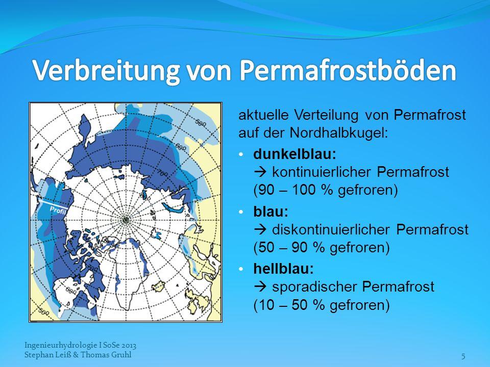 aktuelle Verteilung von Permafrost auf der Nordhalbkugel: dunkelblau: kontinuierlicher Permafrost (90 – 100 % gefroren) blau: diskontinuierlicher Perm