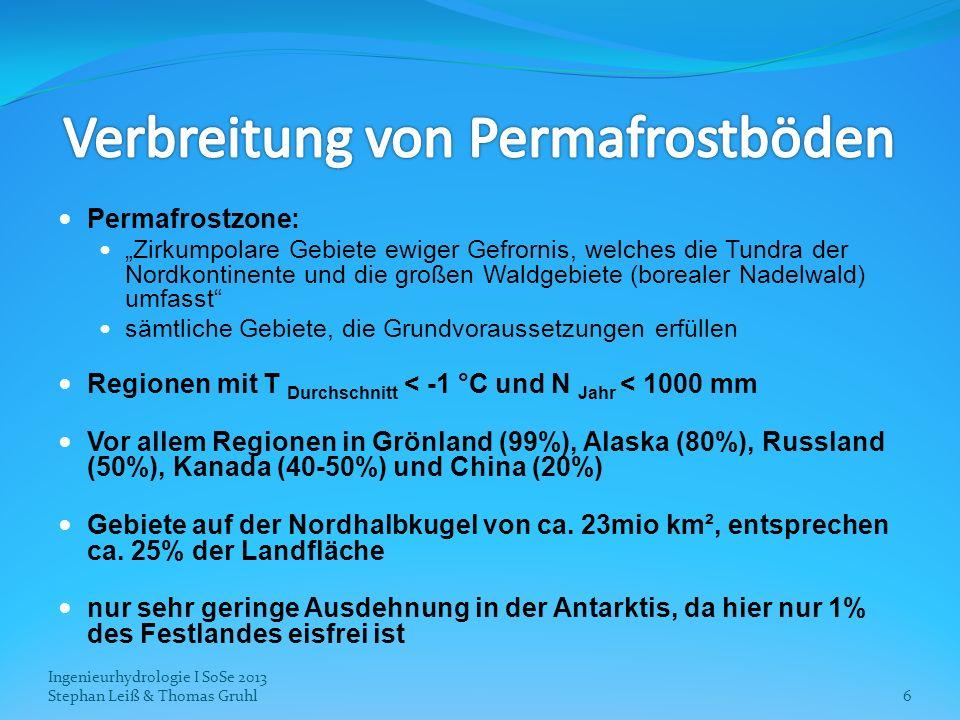 Ingenieurhydrologie I SoSe 2013 Stephan Leiß & Thomas Gruhl17 Steigende Boden- und Atmosphärentemperatur erlaubt Ausbreitung der Vegetation nach Norden: Tundrenlandschaften werden durch Strauchvegetation und Wälder ersetzt Waldbedeckung nimmt allgemein zu Veränderung der Albedo ausbreitende Vegetation ist in der Lage mehr CO 2 aus der Atmosphäre aufzunehmen Annahme, dass positiver Effekt durch die CO 2 - Aufnahme vom negativen Effekt der verringerten Albedo übertroffen wird
