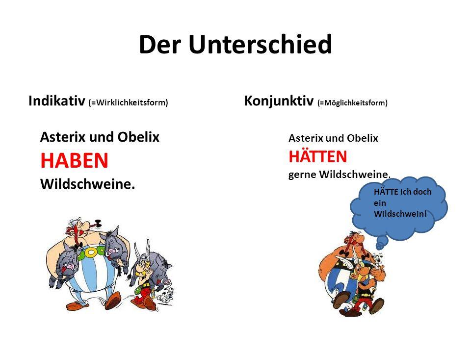 Der Unterschied Indikativ (=Wirklichkeitsform) Konjunktiv (=Möglichkeitsform) Asterix und Obelix HABEN Wildschweine. Asterix und Obelix HÄTTEN gerne W