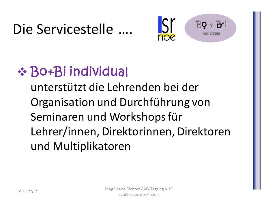 Die Servicestelle …. Bo+Bi individual unterstützt die Lehrenden bei der Organisation und Durchführung von Seminaren und Workshops für Lehrer/innen, Di
