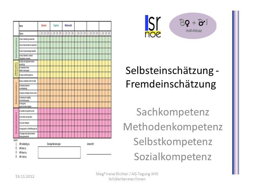 Selbsteinschätzung - Fremdeinschätzung Sachkompetenz Methodenkompetenz Selbstkompetenz Sozialkompetenz 19.11.2012 Mag a Irene Richter / AG-Tagung AHS Schülerberater/innen